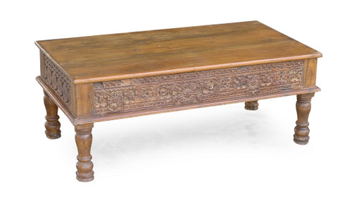 Carved Panel Reclaimed Wood Coffee Table