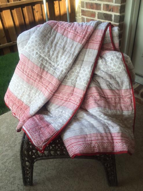 Organic Cotton Block Print Quilt - Red & Grey