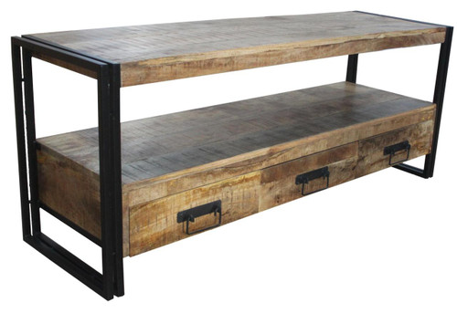 Industrial Reclaimed wood 3 Drawer TV console