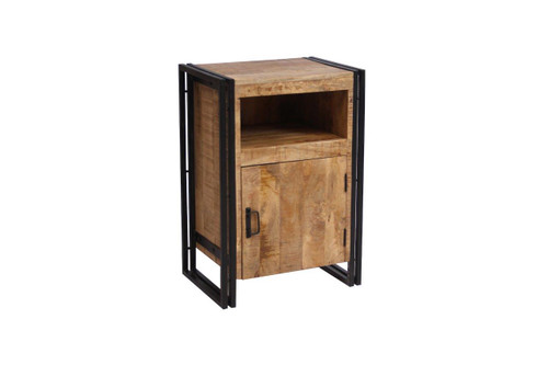Industrial Reclaimed Wood and Iron 1-door Side Table