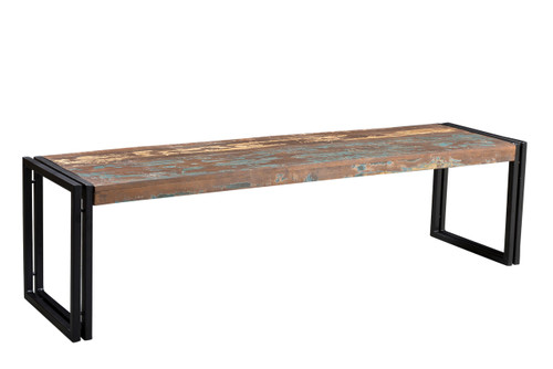 Old Reclaimed Wood Bench with Metal legs