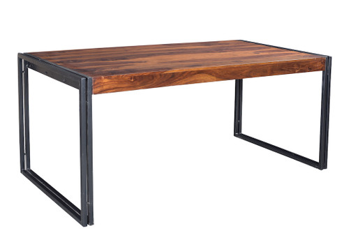 Solid Sheesham Wood Dining Table with Metal Legs