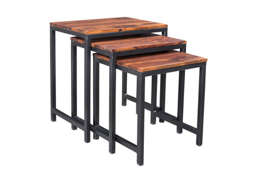 Solid Sheesham Wood Metal Nesting Table