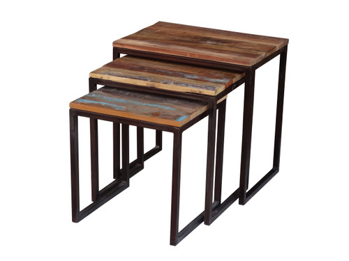 Old Reclaimed Wood Metal Nesting Table
