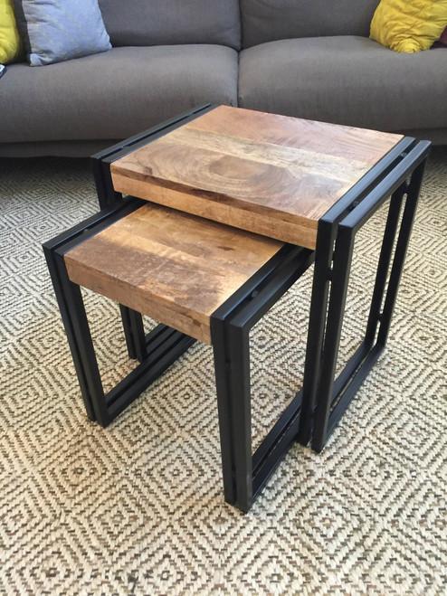 Reclaimed Wood Metal Nesting Table Set of 2