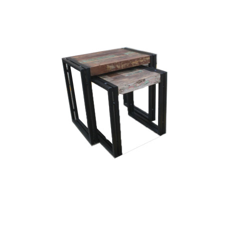 Old Reclaimed Wood Metal Nesting Table Set of 2