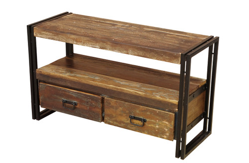 Old Reclaimed wood TV cabinet with Double Drawers