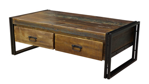 Old Reclaimed wood coffee table with double drawers