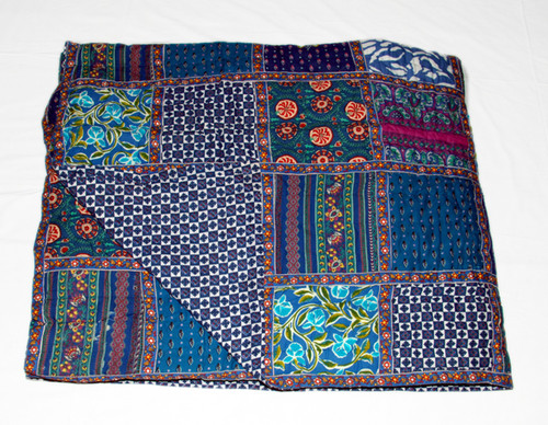 Timbergirl Organic Cotton Block Print Patchwork Quilt Blue