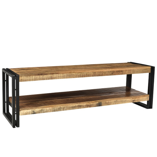 Timbergirl Handcrafted Reclaimed Wood and Metal Bench with Shelf