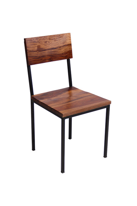 Timbergirl Solid Sheesham Wood and Metal chair - Set of 2