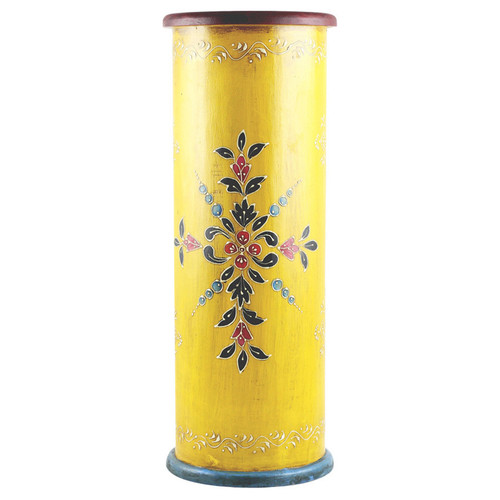 Handcrafted Hand-painted Yellow Wooden Umbrella Stand