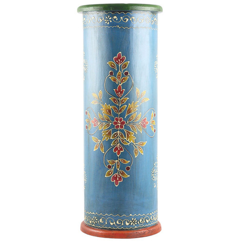 Handcrafted Hand-painted Blue Wooden Umbrella Stand