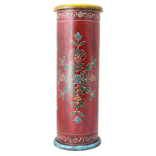 Handcrafted Hand-painted Red Wooden Umbrella Stand