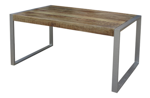 Reclaimed Wood Dining Table with Silver Metal Legs