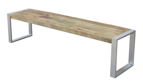 Reclaimed wood Bench with Silver Metal legs.