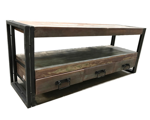 Timbergirl Old Reclaimed Wood 3 Drawer TV Console