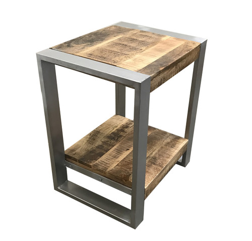 Timbergirl Reclaimed Wood Side Table with Silver legs