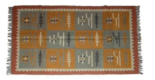Wool Jute Kilim Rug 4'x6' - 4000R23