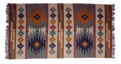 Wool Jute Kilim Rug 4'x6' - 4000R30