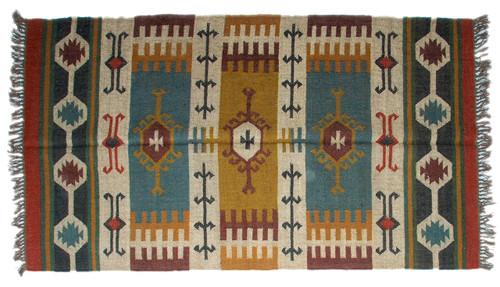 Wool Jute Kilim Rug 4'x6' - 4000R38
