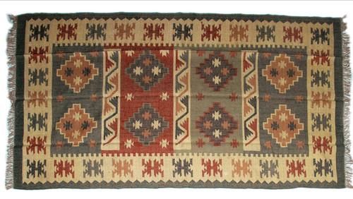 Wool Jute Kilim Rug 6'x9' - AA6000R17