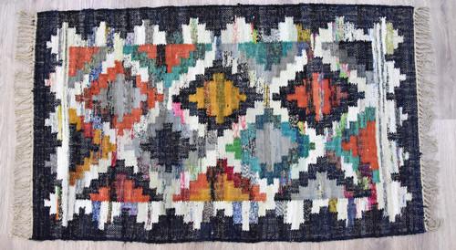 Timbergirl Kilim Black 100% Cotton Handmade Rug
