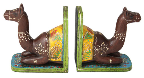 Handmade and Handpainted Camel Bookend Pair