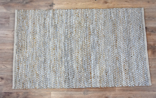 Timbergirl Beige Natural Jute and Leather Handmade Rug