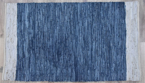 Timbergirl Navy Natural Leather and Jute Handmade Rug