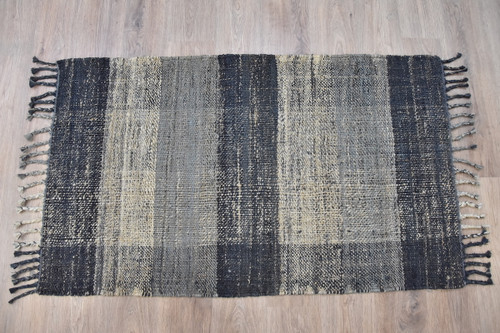 Timbergirl Braided Black Grey 100% Jute Handmade Rug