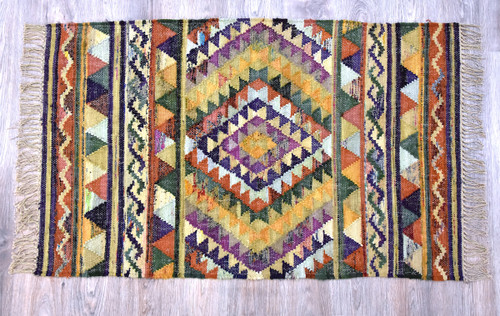Timbergirl Southwestern Multi 100% Cotton Handmade Rug