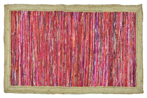 Timbergirl Red with Braided Border Handmade Rug
