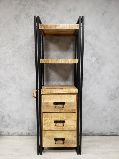 Timbergirl Mango Wood Tall Rack with Wood Drawers