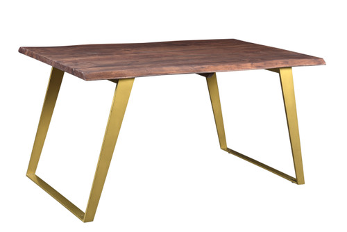 Timbergirl Seesham Live Edge Dining Table Gold Legs