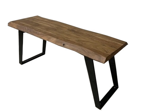 Timbergirl Acacia Live Edge Black Legs Bench
