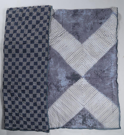 100% COTTON HAND PRINTED NAVY AND WHITE GEOMETRIC QUILT WITH 2 SHAMS