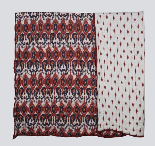 100% COTTON HAND PRINTED RED AND BLUE TRIAL QUILT WITH 2 SHAMS