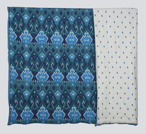 100% COTTON HAND PRINTED DARK BLUE TRIBAL QUILT WITH 2 SHAMS