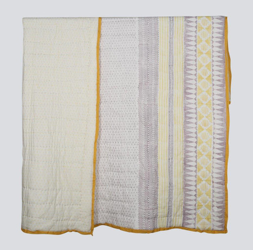 100% COTTON HAND PRINTED MUSTARD AND PURPLE QUILT WITH 2 SHAMS