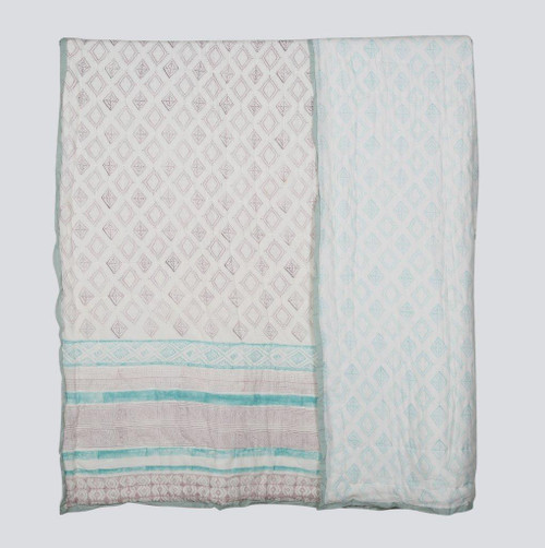 100% COTTON HAND PRINTED GREY AND TEAL QUILT WITH 2 SHAMS