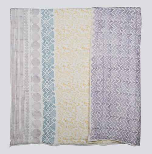 100% COTTON HAND PRINTED YELLOW AND PURPLE QUILT WITH 2 SHAMS