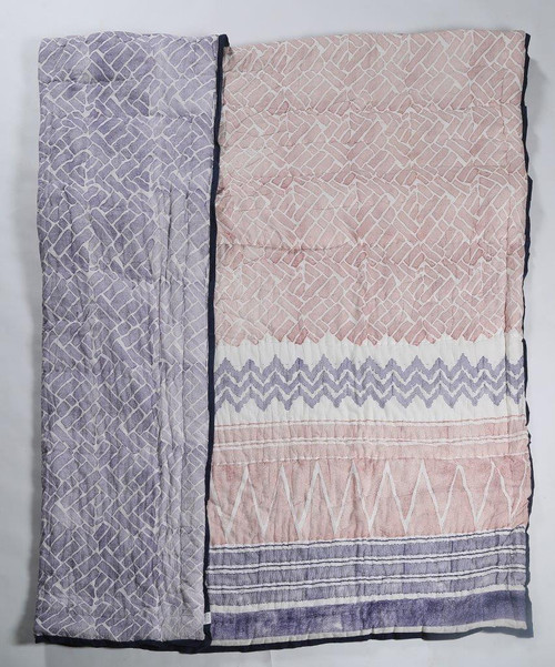 100% COTTON HAND PRINTED RED AND PURPLE STRIPPED QUILT WITH 2 SHAMS