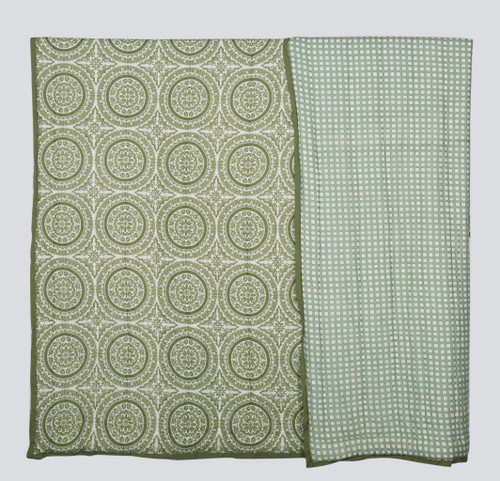 100% COTTON HAND PRINTED GREEN CIRCLE QUILT WITH 2 SHAMS