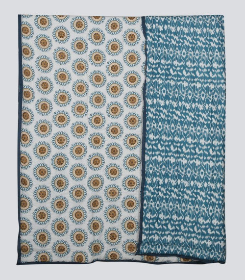 100% COTTON HAND PRINTED TEAL AND YELLOW FLORAL QUILT WITH 2 SHAMS