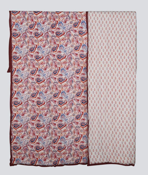 100% COTTON HAND PRINTED RED AND BLUE PAISLEY QUILT  WITH 2 SHAMS