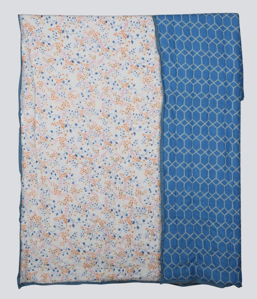 100% COTTON HAND PRINTED PINK,BLUE AND ORANGE BABY'S BREATH FLORAL QUILT WITH 2 SHAMS