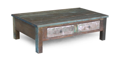 Reclaimed wood coffee table with double drawers