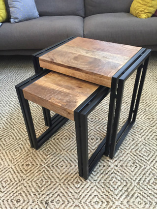 Set Of 2 Wood And Metal Reclaimed Wood Nesting Tables