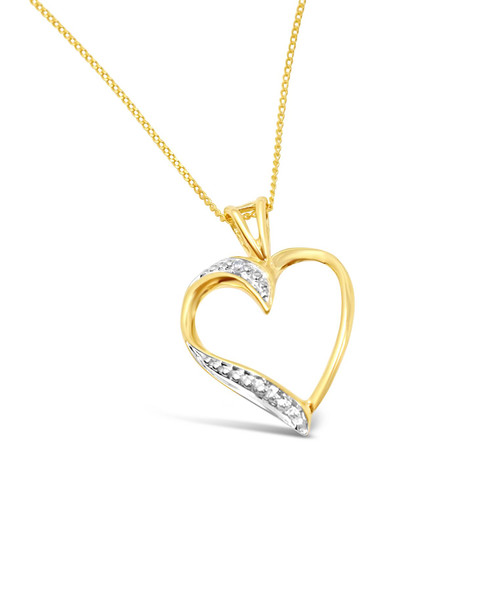 Heart Shaped Diamond Pendant With Necklace Yellow Gold